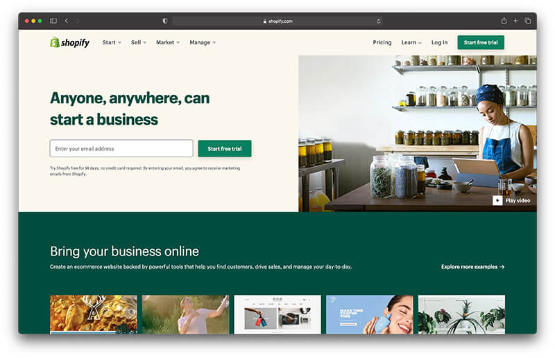 shopify homepage What is shopify and how does it work 15 side hustle ideas to make an extra 1000$ monthly